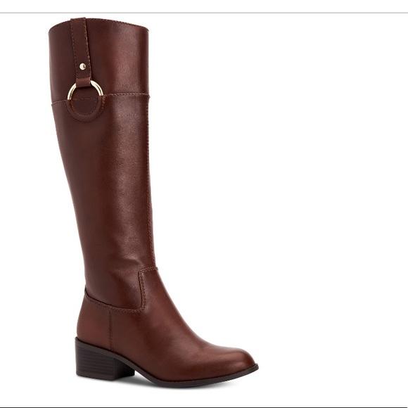138ff58195c Alfani Briaah Brown Leather Riding Boots
